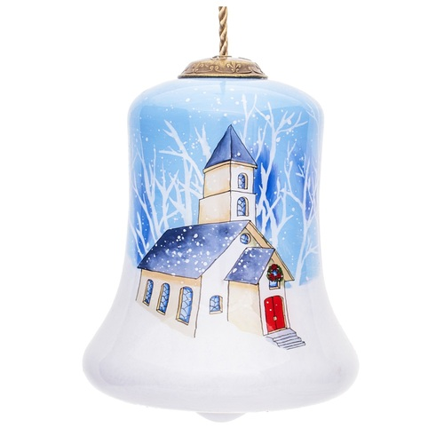 """3.5"""" Oh Come Let Us Adore Him Christmas Bell Shaped Glass Ornament - IMAGE 1"""