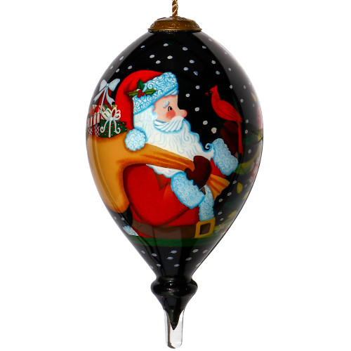 """6"""" Black and Red Merry Christmas Santa with Cardinal Hand Painted Mouth Blown Glass Hanging Christmas Ornament - IMAGE 1"""