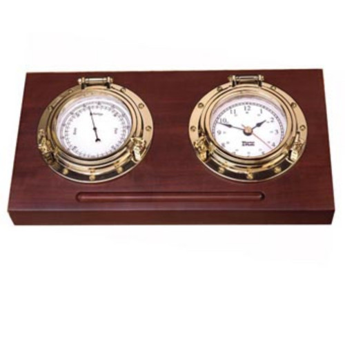 """8"""" Brown and Gold Contemporary Porthole Desk Set - IMAGE 1"""