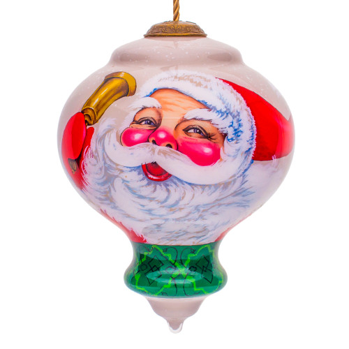 """5"""" Beige and White Winter Wonderland Santa Hand Painted Mouth Blown Glass Hanging Christmas Ornament - IMAGE 1"""