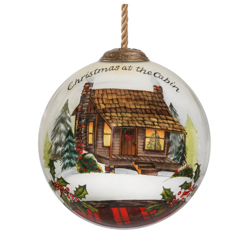 """3"""" Christmas at the Cabin Glass Ball Hanging Ornament - IMAGE 1"""