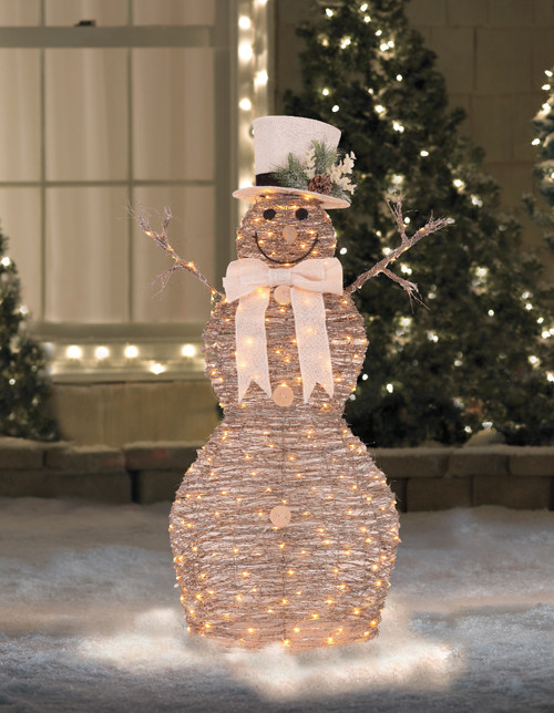 48 Led Lighted Rattan Snowman Outdoor Christmas Decoration Christmas Central