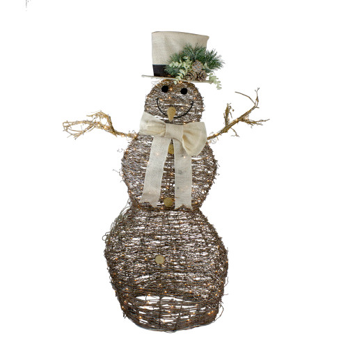 """48"""" LED Lighted Rattan Snowman Outdoor Christmas Decoration - IMAGE 1"""