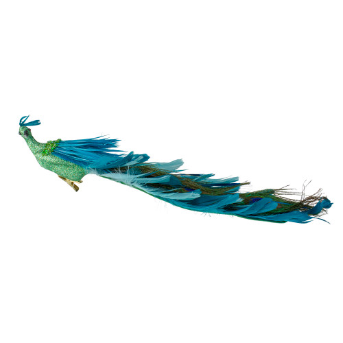 """14"""" Green and Blue Jeweled Peacock Clip-On Christmas Ornament - IMAGE 1"""