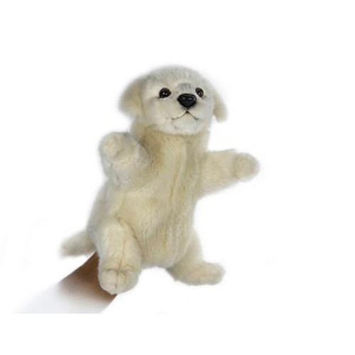 """Set of 3 Handcrafted White Puppy Hand Puppet Stuffed Animals 9.25"""" - IMAGE 1"""