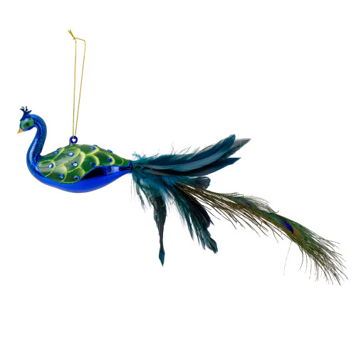 """14"""" Green and Blue Jeweled Peacock Christmas Ornament with Feather Tail - IMAGE 1"""