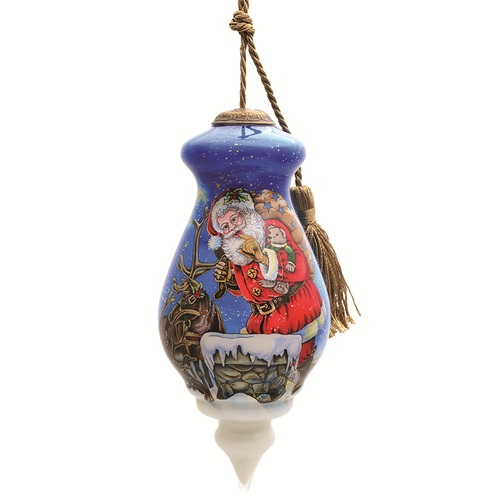 """6"""" Purple and Red Naughty or Nice Santa Hand Painted Mouth Blown Glass Hanging Christmas Ornament - IMAGE 1"""