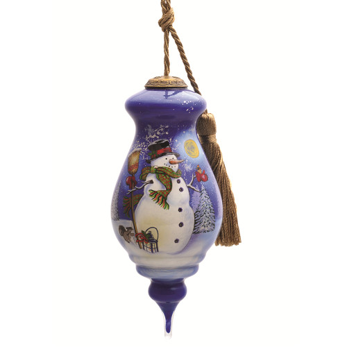 """5"""" Purple and White Snowman Feathered Fun Hand Painted Mouth Blown Glass Hanging Christmas Ornament - IMAGE 1"""
