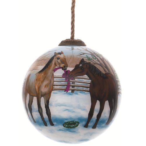 "3"" White and Brown Horses Hand Painted Mouth Blown Glass Hanging Christmas Ornament - IMAGE 1"