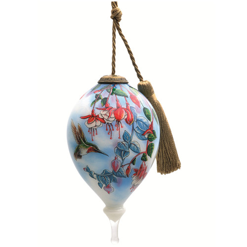 """4.75"""" Broadtail and Fuchsia Hummingbird Christmas Finial Shaped Glass Hanging Ornament - IMAGE 1"""