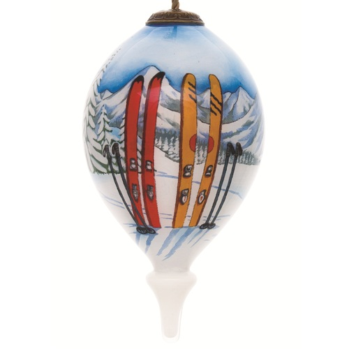 """4.75"""" White and Blue Ski Vacation Hand Painted Mouth Blown Glass Hanging Christmas Ornament - IMAGE 1"""