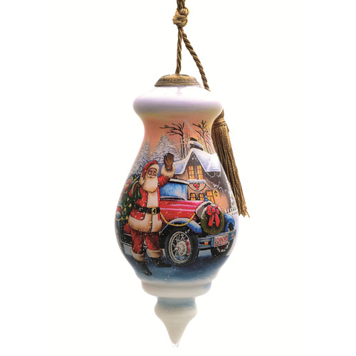 """6"""" Santa Delivery Gift Christmas Glass Ornament - IMAGE 1"""