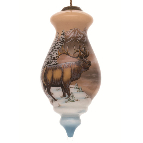 "6"" Brown and White Elk by Cabin Hand Painted Mouth Blown Glass Hanging Christmas Ornament - IMAGE 1"