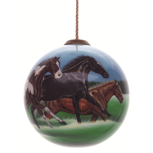 "4"" Black and Brown Horse Power Hand Painted Mouth Blown Glass Hanging Christmas Ornament - IMAGE 1"