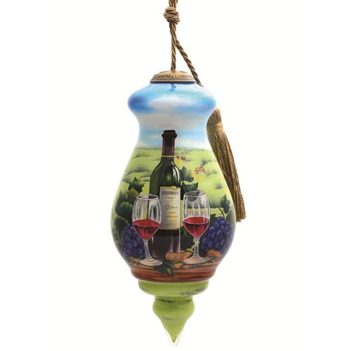 "6"" Vineyard Christmas Finial Shaped Glass Hanging Ornament - IMAGE 1"