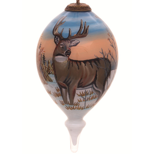 "4.75"" Brown Whitetail Deer Hand Painted Mouth Blown Glass Hanging Christmas Ornament - IMAGE 1"