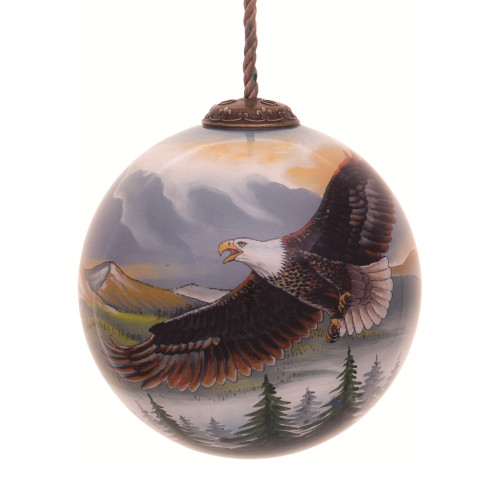 """3"""" Multi-Colored Soaring Eagle Hand Painted Mouth Blown Glass Hanging Christmas Ornament - IMAGE 1"""