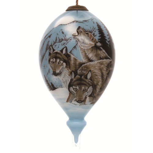 "6"" Blue and Brown Wolves Hand Painted Mouth Blown Glass Hanging Christmas Ornament - IMAGE 1"