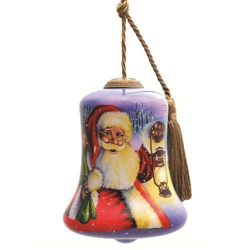 """3.5"""" Santa with Lamp Christmas Bell Shaped Glass Hanging Ornament - IMAGE 1"""