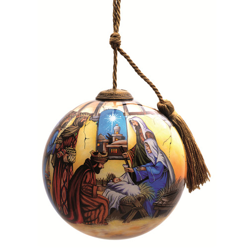 """4"""" Baby Jesus and Three Kings Religious Christmas Glass Ornament - IMAGE 1"""