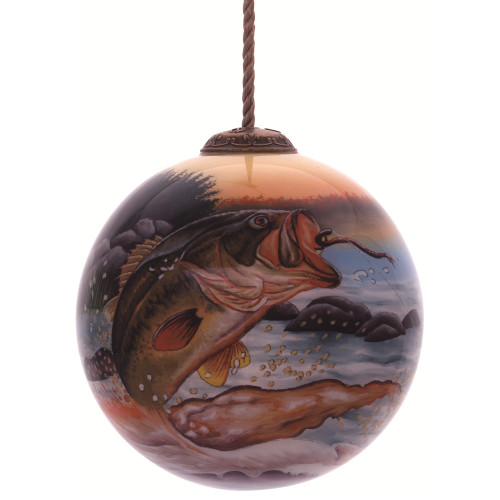 """3"""" Multi-Colored Bass Fish Hand Painted Mouth Blown Glass Hanging Christmas Ornament - IMAGE 1"""