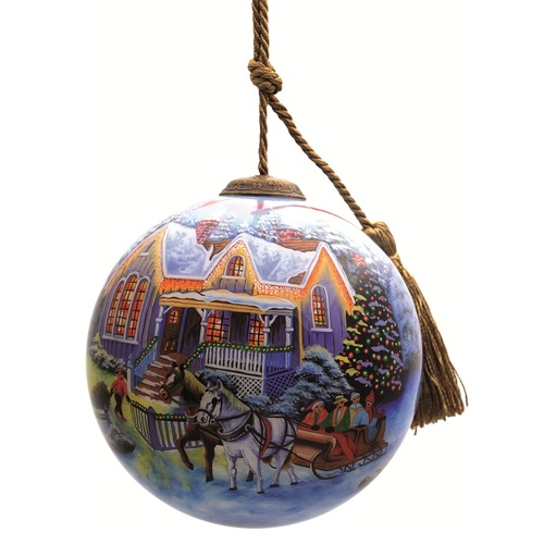 "4"" Welcome Home Holiday Christmas Glass Ball Hanging Ornament - IMAGE 1"