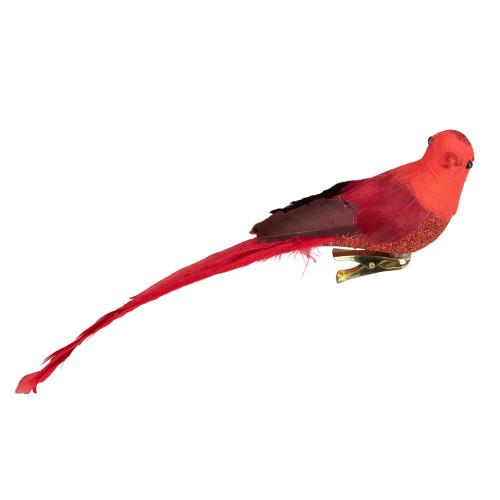 """9"""" Red Cardinal with Long Tail Clip-On Christmas Ornament - IMAGE 1"""