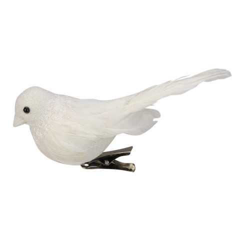 """5"""" Sparkly White Bird Clip-On Christmas Ornament - IMAGE 1"""