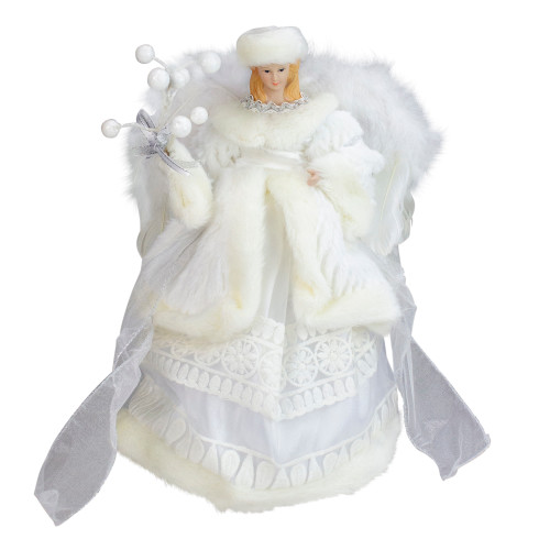 """12"""" White Angel in a Dress Christmas Tree Topper- Unlit - IMAGE 1"""