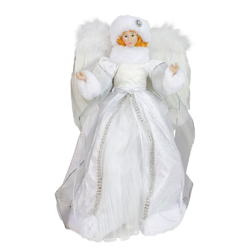 """14"""" White Angel in a Sparkly Dress Christmas Tree Topper- Unlit - IMAGE 1"""