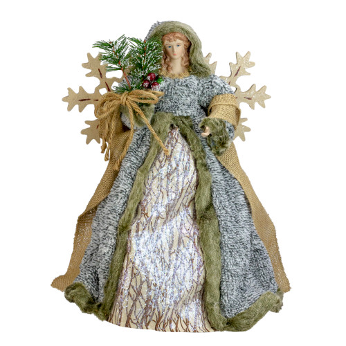 """16"""" Brown and White Rustic Angel Christmas Tree Topper- Unlit - IMAGE 1"""