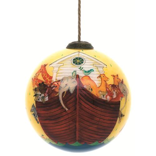 """4"""" Noah's Ark Christmas Glass Ball Hanging Ornament - IMAGE 1"""