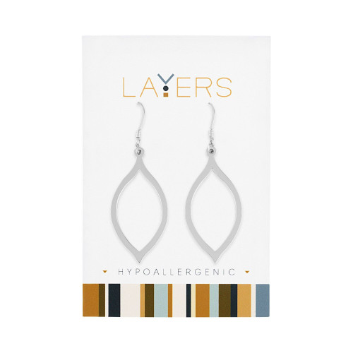 """1.5"""" Silver Contemporary Oval Dangle Earrings with Hook - IMAGE 1"""