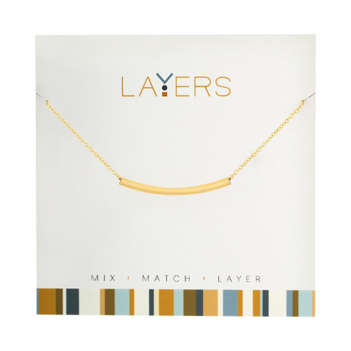 """1.5"""" Gold Adjustable Necklace with Curve Bar Pendent - IMAGE 1"""
