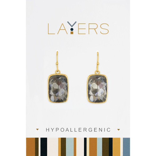 """0.5"""" Gold and Gray Contemporary Rectangle Stone Dangle Earrings - IMAGE 1"""