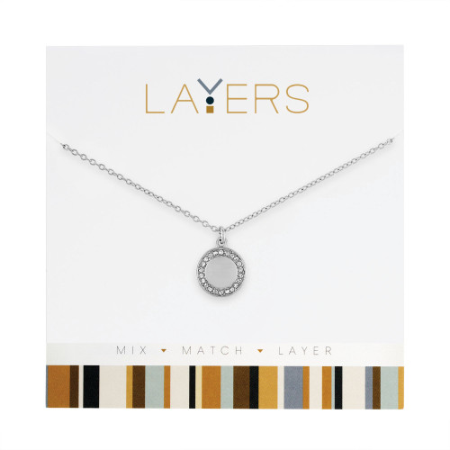"""0.5"""" Silver Adjustable Necklace with Round Disc Pendant - IMAGE 1"""
