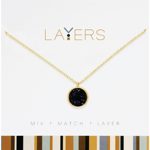 """4"""" Gold Circle Druzy Black Layers Adjustable Necklace with Pendant - IMAGE 1"""