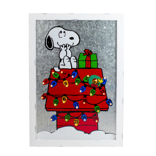"16"" LED Snoopy Countdown to Christmas Calendar with Wreath Marker - IMAGE 1"