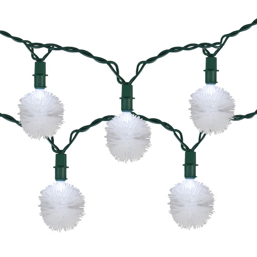 20 White LED Fluffy Snowball Mini Christmas Lights - 9 ft Green Wire - IMAGE 1