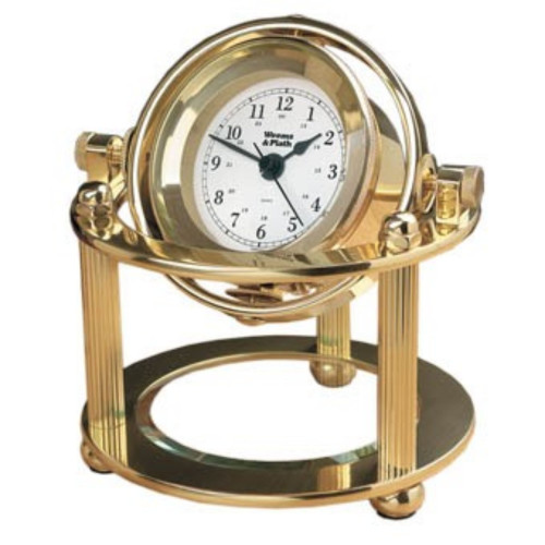 """8"""" Gold and White Gimbals Glass Crystal Desk Clock - IMAGE 1"""