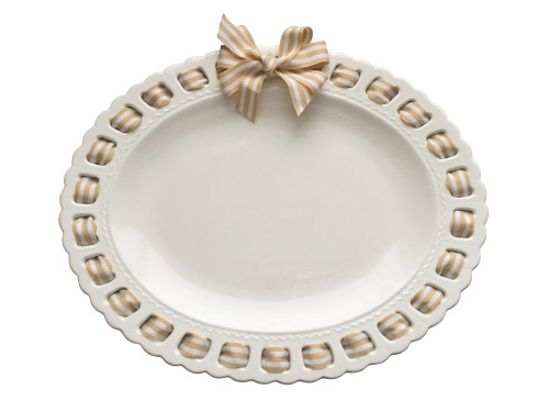 "21"" White Oval Ceramic Serving Platter with Sand and White Striped Ribbon Woven Around the Edge - IMAGE 1"