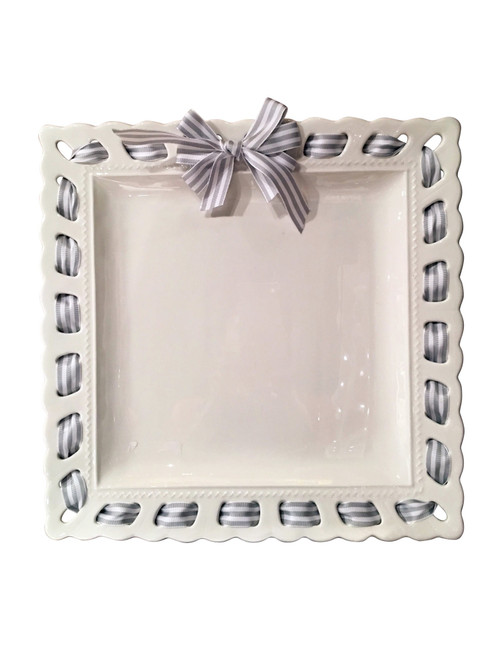 """16"""" White Square Ceramic Serving Platter with Grey and White Striped Ribbon Woven Around the Edge - IMAGE 1"""