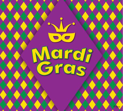 "7' x 8' Yellow and Purple ""Mardi Gras"" Single Car Garage Door Banner - IMAGE 1"