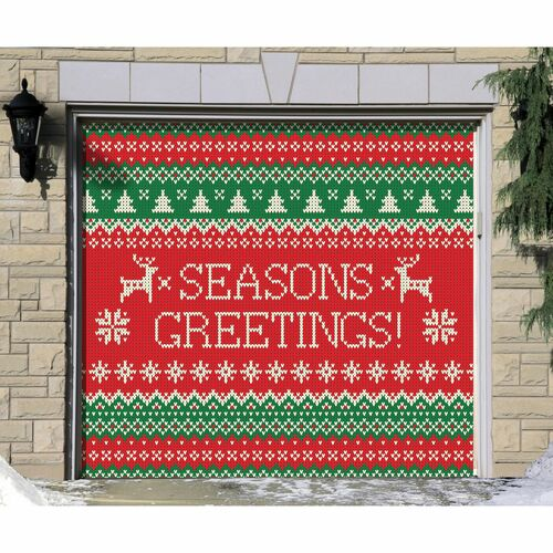 "7' x 8' Green and Red ""Seasons Greetings"" Single Car Garage Door Banner - IMAGE 1"