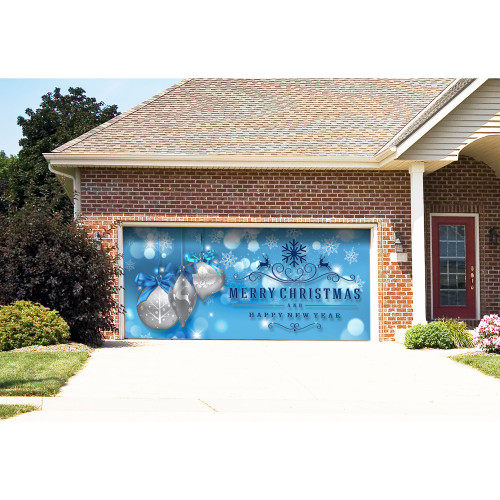 "7' x 16' Blue and Gray ""Merry Christmas and Happy New Year"" Outdoor Double Car Garage Door Banner - IMAGE 1"
