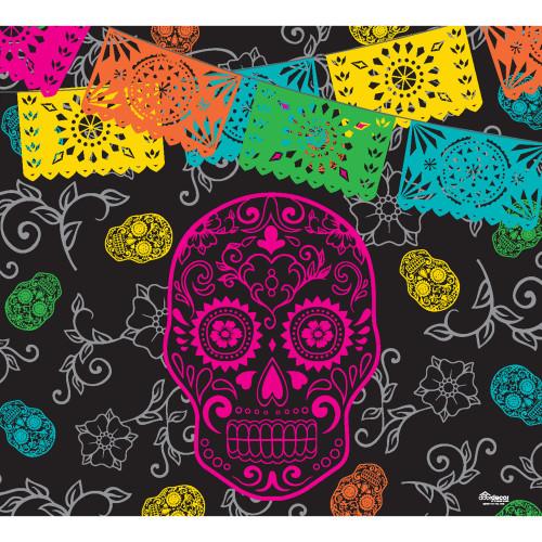 7' x 8' Black and Pink Skeleton Halloween Single Car Garage Door Banner - IMAGE 1