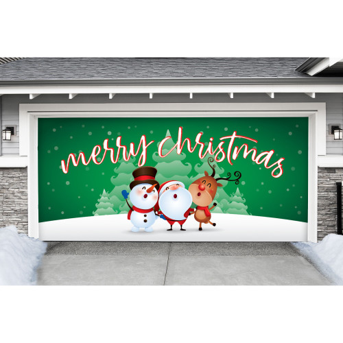 """7' x 16' Green and White """"Merry Christmas"""" Double Car Garage Door Banner - IMAGE 1"""