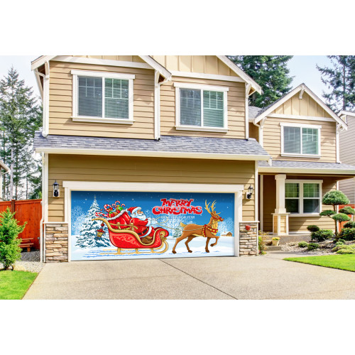 """7' x 16' Red and Blue """"Merry Christmas"""" Outdoor Double Car Garage Door Banner - IMAGE 1"""
