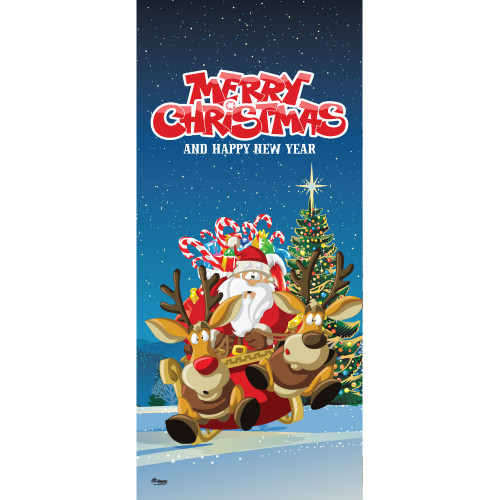 "80"" x 36"" Red and Green Santa's Take Off Christmas Front Door Banner Mural Sign Decoration - IMAGE 1"