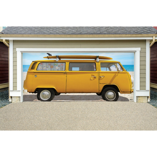 7' x 16' Yellow and Blue Car Double Car Garage Door Banner - IMAGE 1
